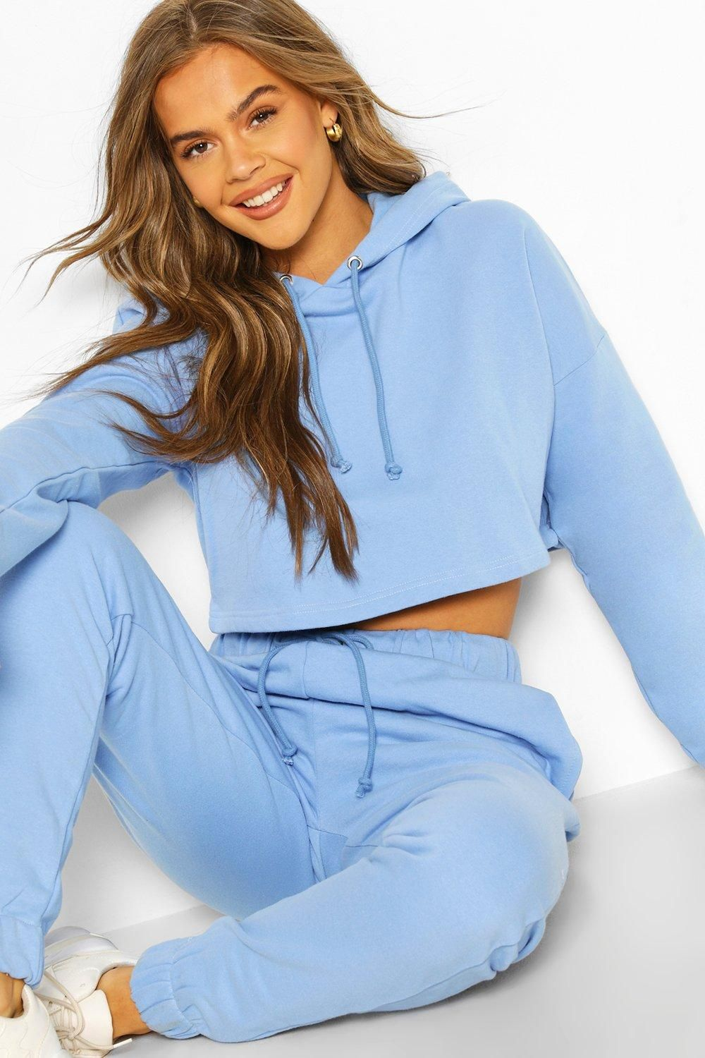 Womens Girls Cropped Hoodie Gymming Exercise Long Sleeve Laser CutOut Tracksuit