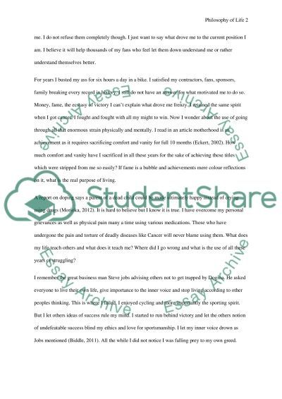 Lance Armstrong Talks About Philosophy Of Life  Essay Example  Lance Armstrong Talks About Philosophy Of Life  Essay Example