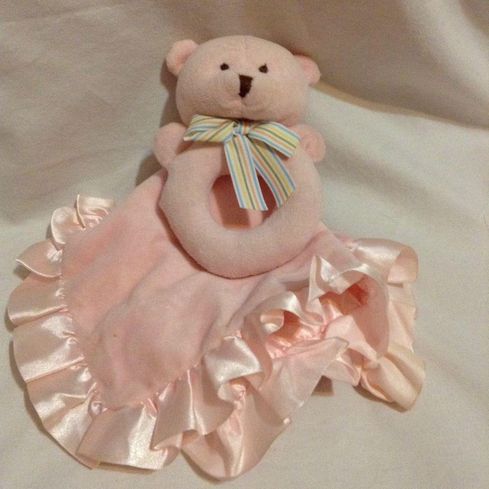 Carters baby girl bear lovey security blanket pink satin fleece