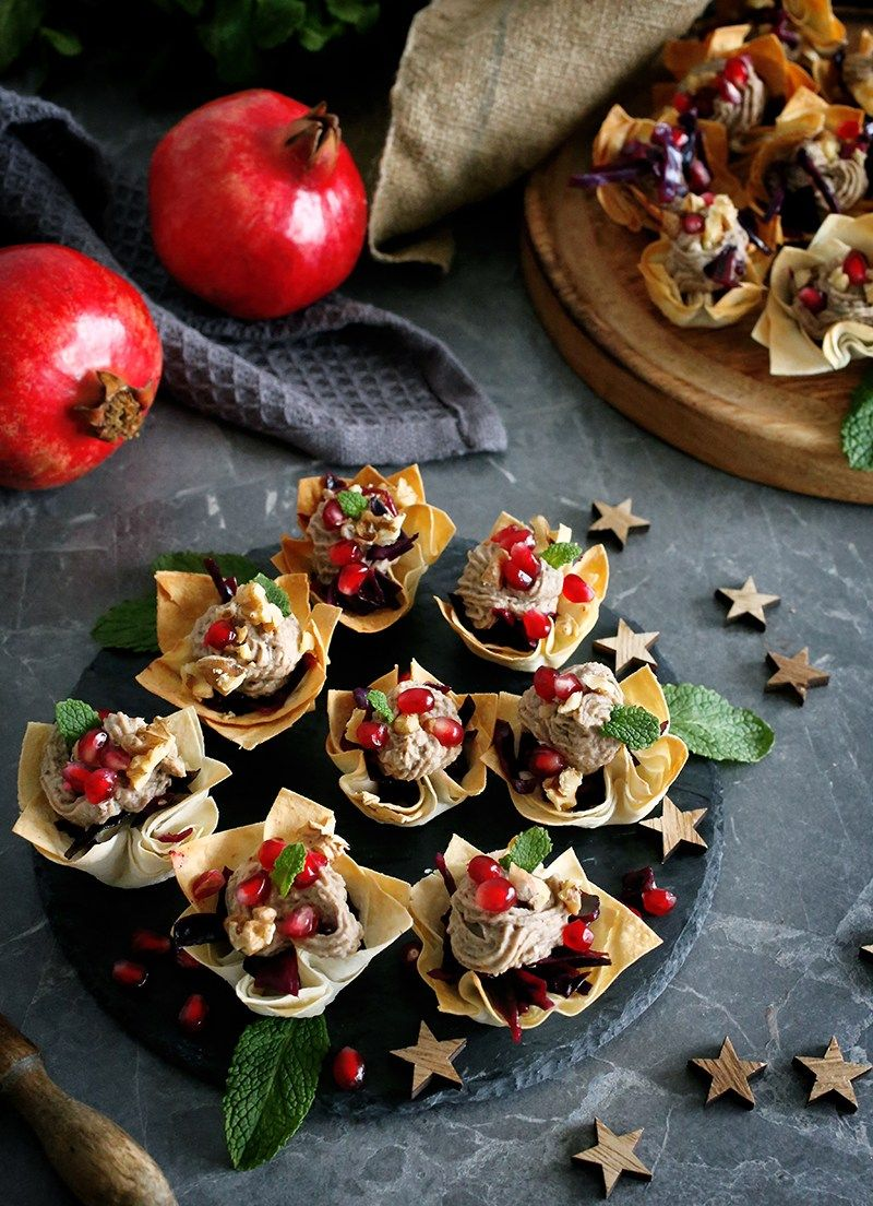 Red Cabbage And Chestnut Stuffed Vegan Phyllo Cups