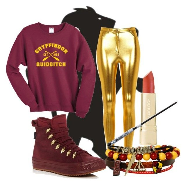 """""""Gryffindor Inspired"""" by moonstar843 on Polyvore featuring River Island, Warner Bros. and Converse"""
