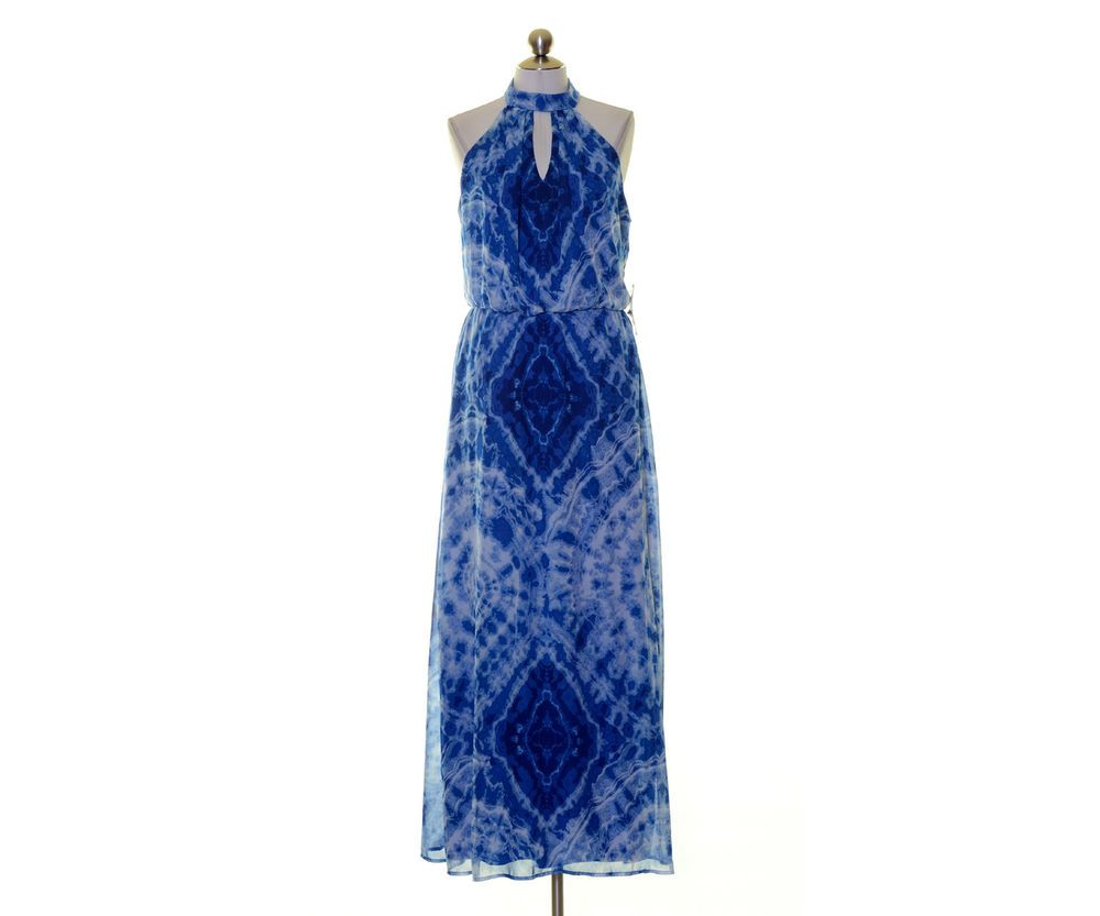 Blue and white geometric print maxi dress