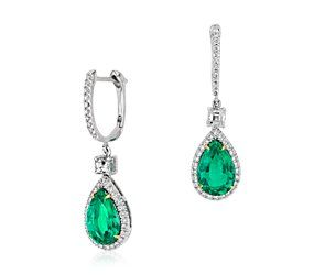 blue nile pear shape emerald and diamond drop earrings
