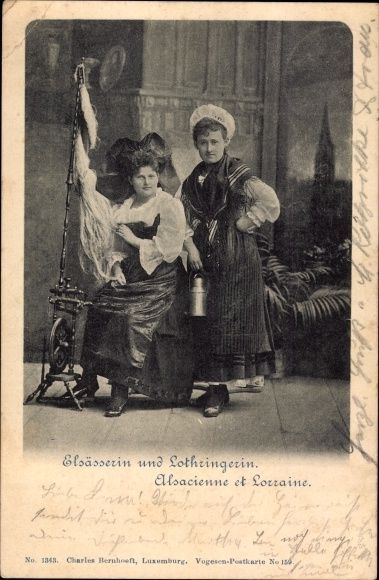 Postcard Elsäßerin und Lothringerin, Alsacienne et Lorraine, Spinnrad, postally used 1899