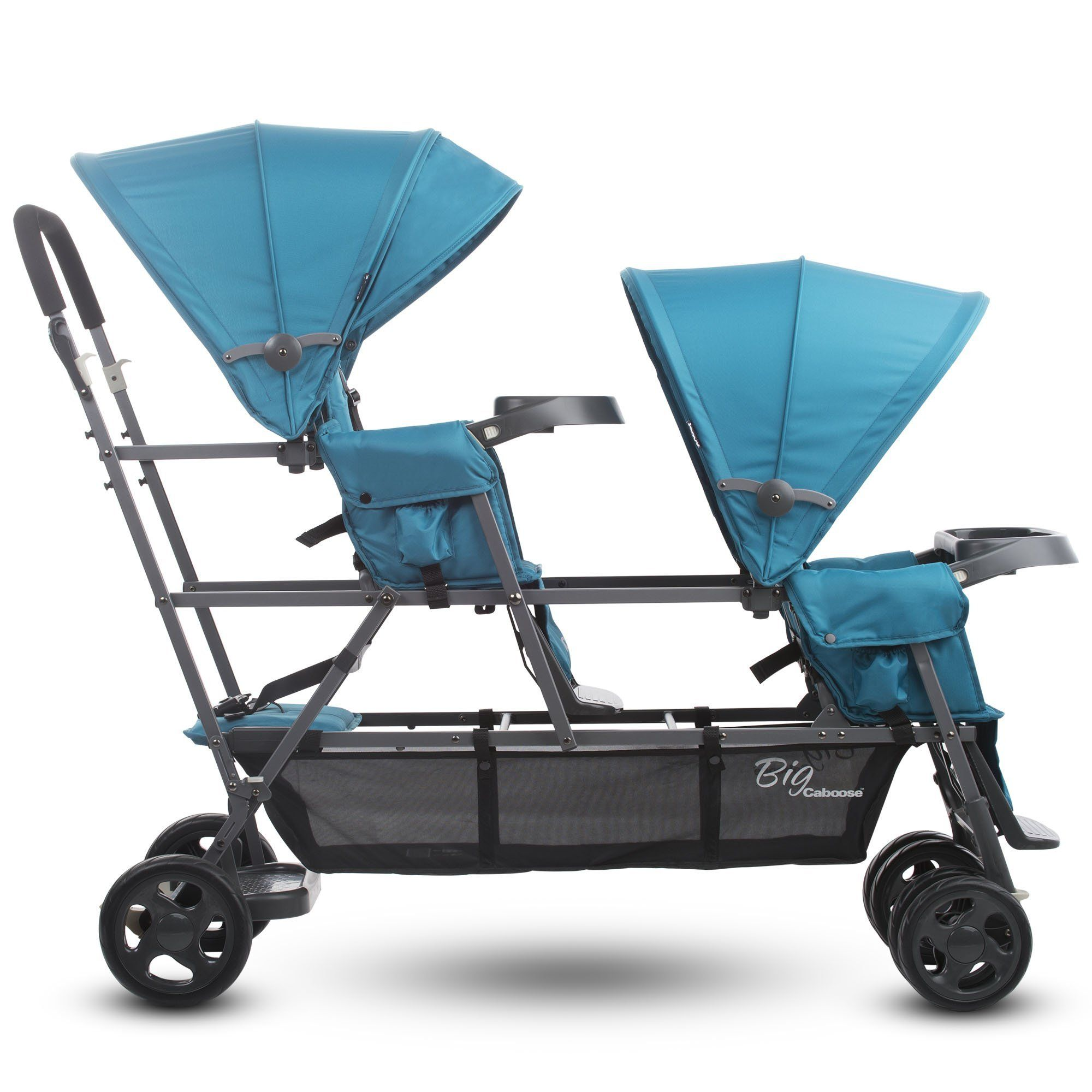 Joovy Big Caboose Graphite Stand On Triple Stroller, Turq
