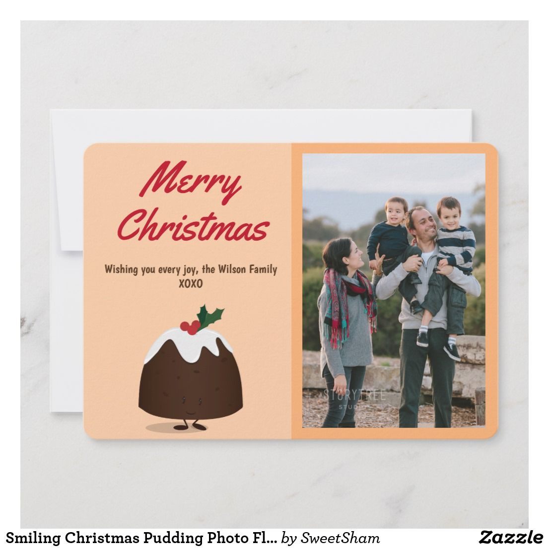 Smiling Christmas Pudding Photo Flat Card Tan This Holiday Card Shows A Smiling Cartoon Christmas Merry Christmas Wishes Christmas Photo Cards Holiday Cards
