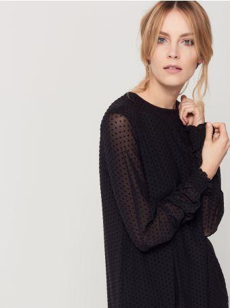 3f9eecdd Mohito - Sukienka z tiulem w grochy Czarna sukienka o prostym ...