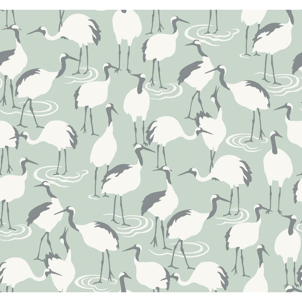 York Wallcoverings Winter Cranes Wallpaper - Jade Jade Paper Strippable Roll (Covers 60.75 sq. ft.)-DR6356 - The Home Depot