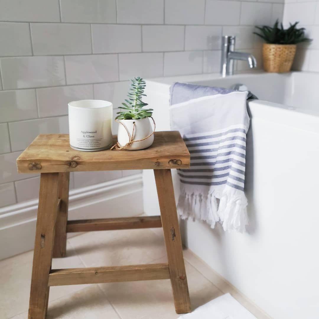 Vintage Bathroom Stool And Metro Wall Tiles Vintage Stool