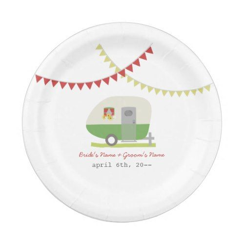 Green Retro Trailer Wedding Paper Plate  sc 1 st  Pinterest & Green Retro Trailer Wedding Paper Plate | Wedding paper Retro and ...