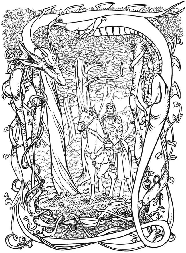 Dover - Dragon and Prince | Dragon coloring page, Fairy ...