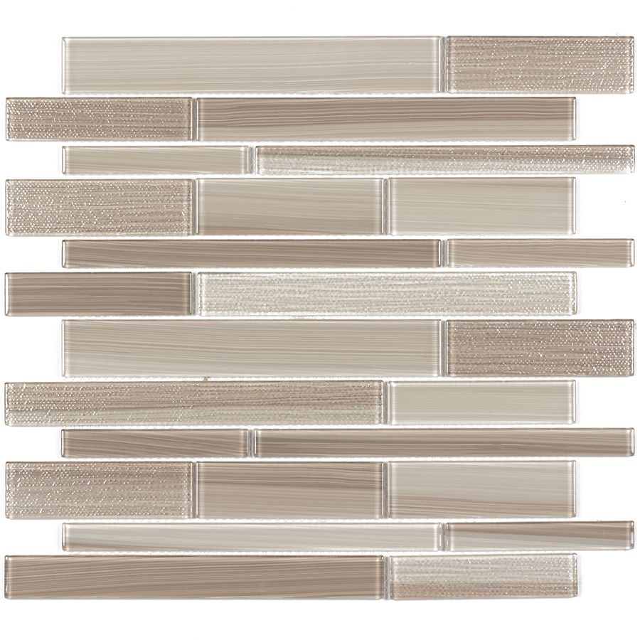 Elida Ceramica Brushed Sand Linear Mosaic Gl Wall Tile Common 12 In X