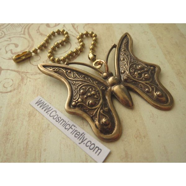 Big Brass Butterfly Fan Pull Steampunk Ceiling Fan Pull Chain Antiqued... ($17) ❤ liked on Polyvore featuring home, home decor, green, home & living, butterfly home decor, handmade home decor, steampunk home decor, metal home decor and green home decor