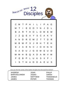 Quot Search For Jesus Twelve Disciples Quot Word Search Puzzle