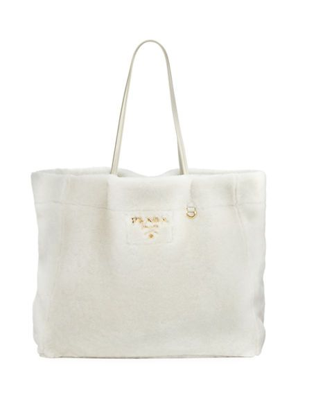 625634cc4dc3 closeout prada medium east west shearling fur tote bag white. prada bags  hand bags fur