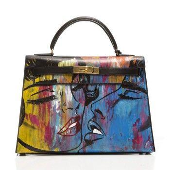 ba3b2291c385c7 Customised Vintage Hermes Kelly 'Graffiti Kiss' Bag   Painted ...
