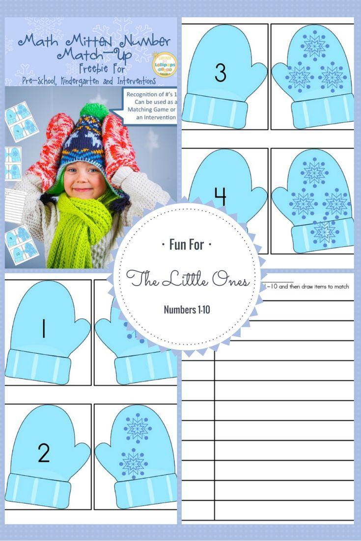 Math Mitten Number Match-Up Freebie For Pre-School, Kindergarten and ...