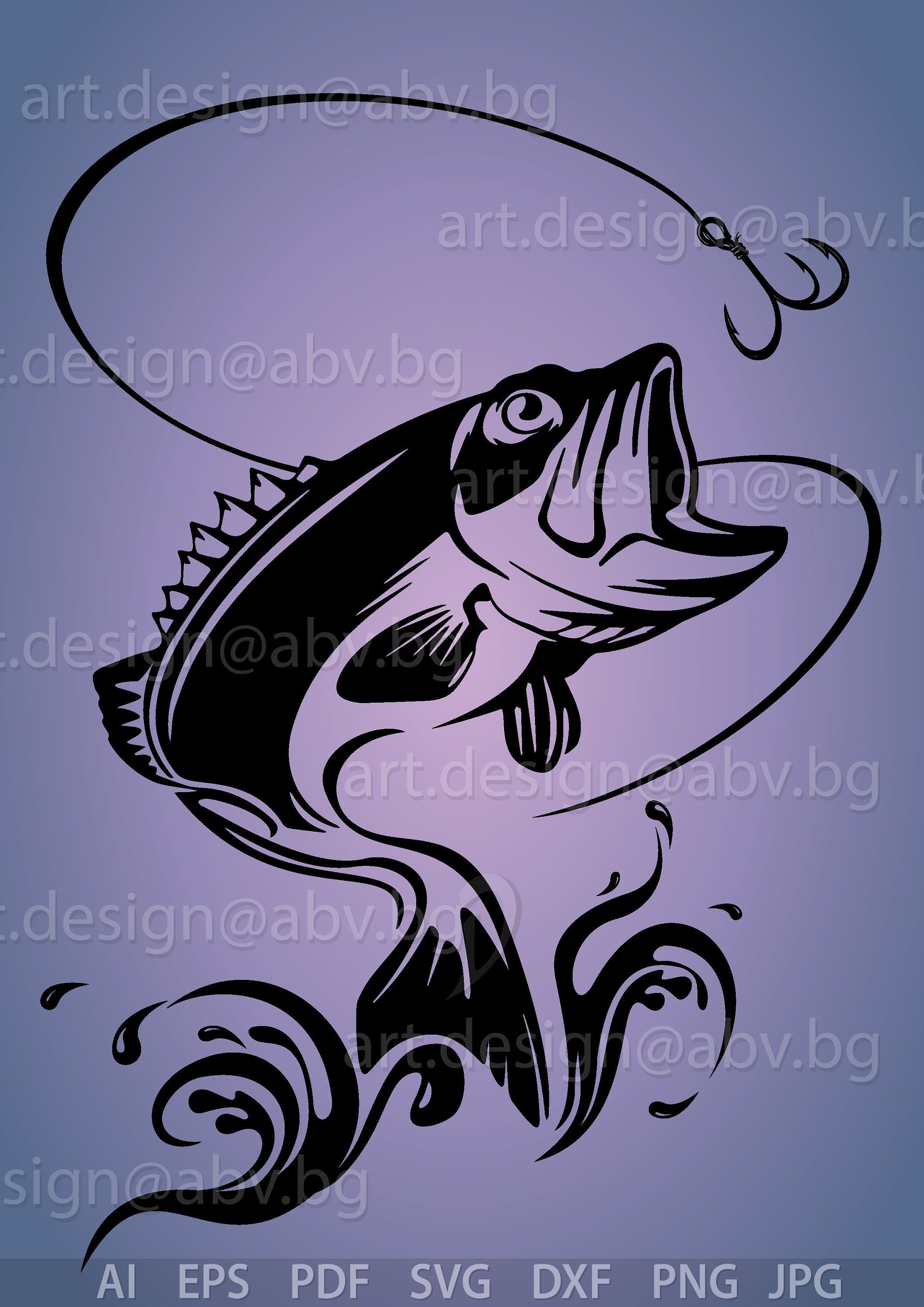 Vector Fish On A Hook Ai Eps Pdf Png Svg Dxf Jpg Image Graphic Digital Download Artwork Fish On A Hook Svg Discount Coupons Graphic Image Svg Fish On A Hook