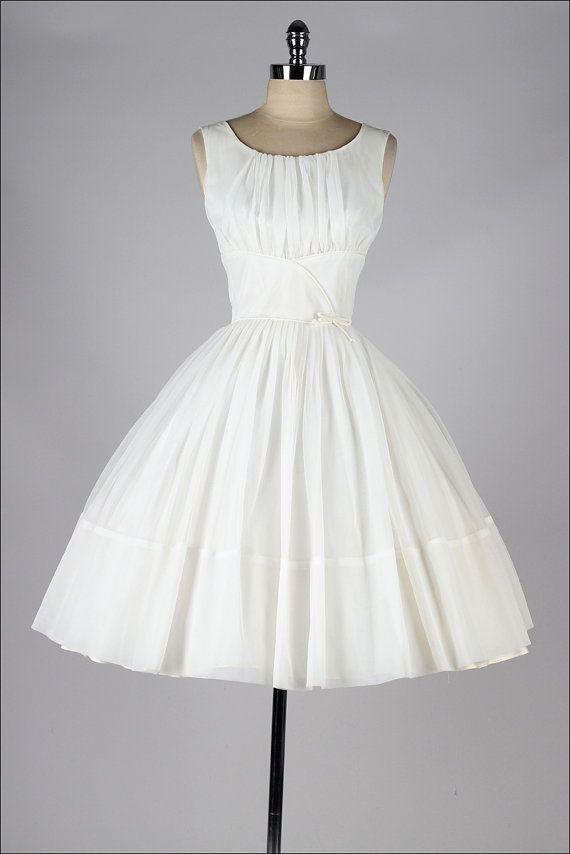 vintage 1950s dress . cream chiffon . classic by millstreetvintage