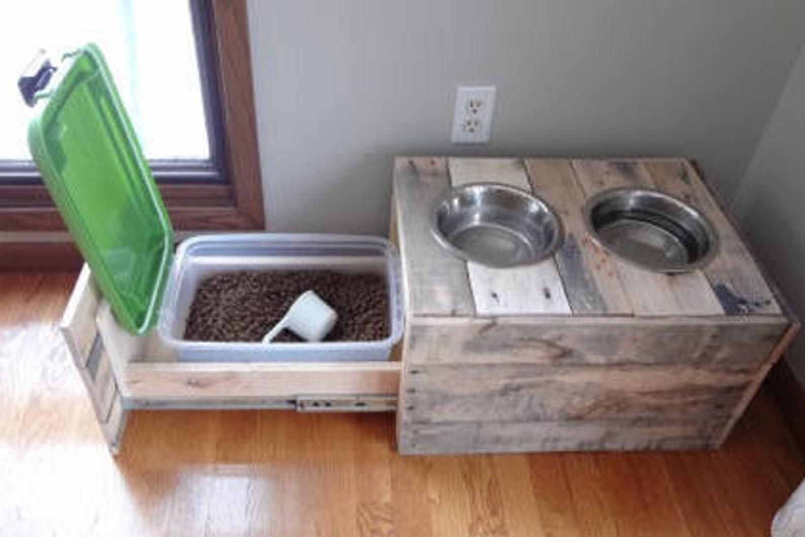 Pallet Wood Dog Dish with Storage Drawer + 2 Dishes in