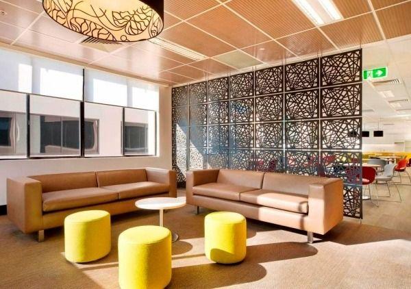 Ideen Raumtrenner-Design Home-Office Wohnzimmer-Gelbe Sitzgruppe - wohnzimmer ideen modern