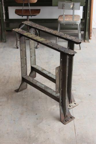 Vintage Industrial Machine Age Heavy Duty Workbench Table Legs Iron Steel 1940s Workbench
