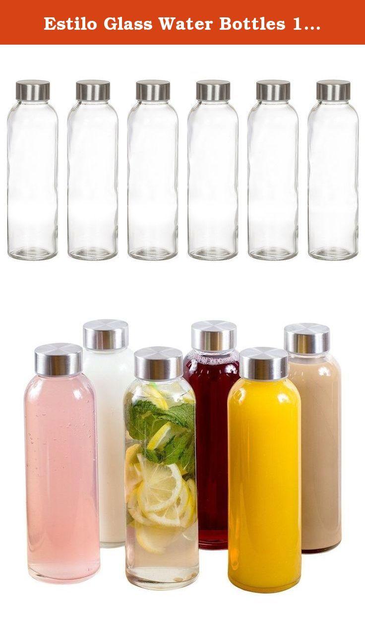 Estilo Gl Water Bottles 16 Oz Stainless Steel Cap Case Of 6 Made Bpa Free Soda Lime Superior Impact Resistance