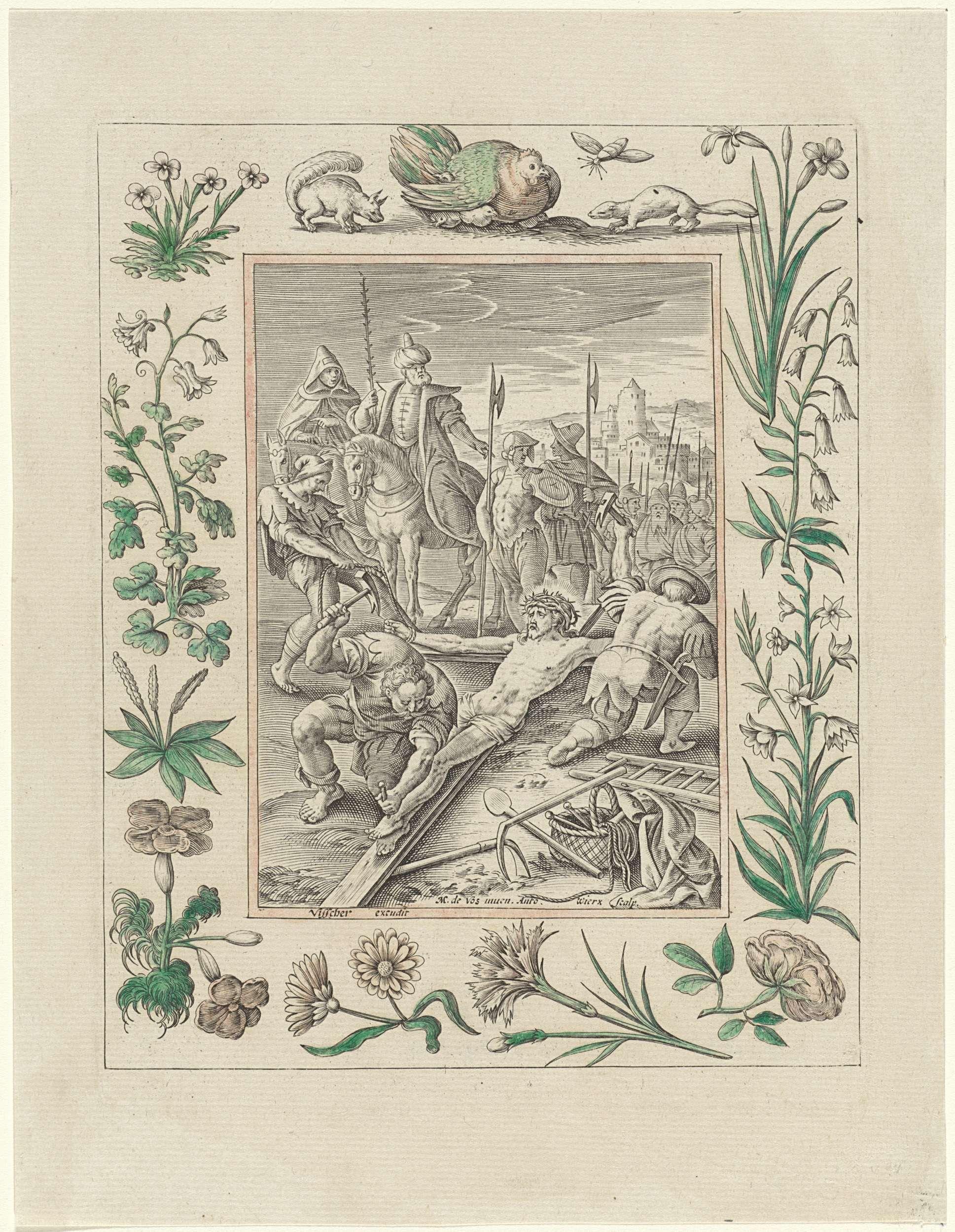 Antonie Wierix (II)   Christus wordt aan het kruis genageld, Antonie Wierix (II), Claes Jansz. Visscher (II), 1582 - 1586   Christus wordt door twee mannen aan het kruis genageld. Soldaten te paard kijken toe. De voorstelling is gevat in een ornamentele omlijsting die is gedecoreerd met dieren en bloemen.
