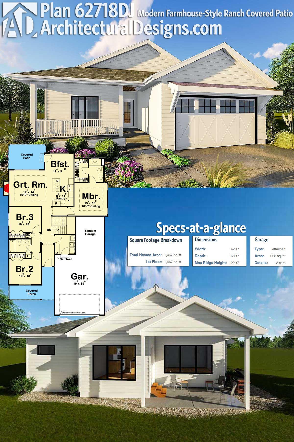Plan 62718DJ Modern Farmhouse Style Ranch Covered Patio