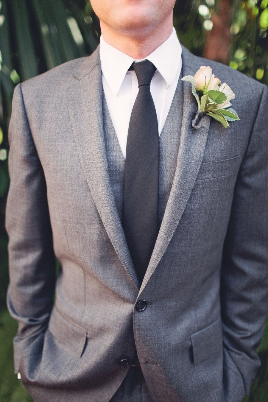 Very smart in grey with buttonhole