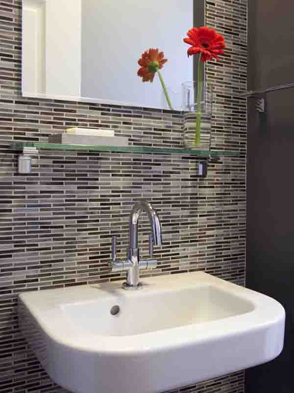 red flower bud vase glass shelf tile backsplash bath design ideas
