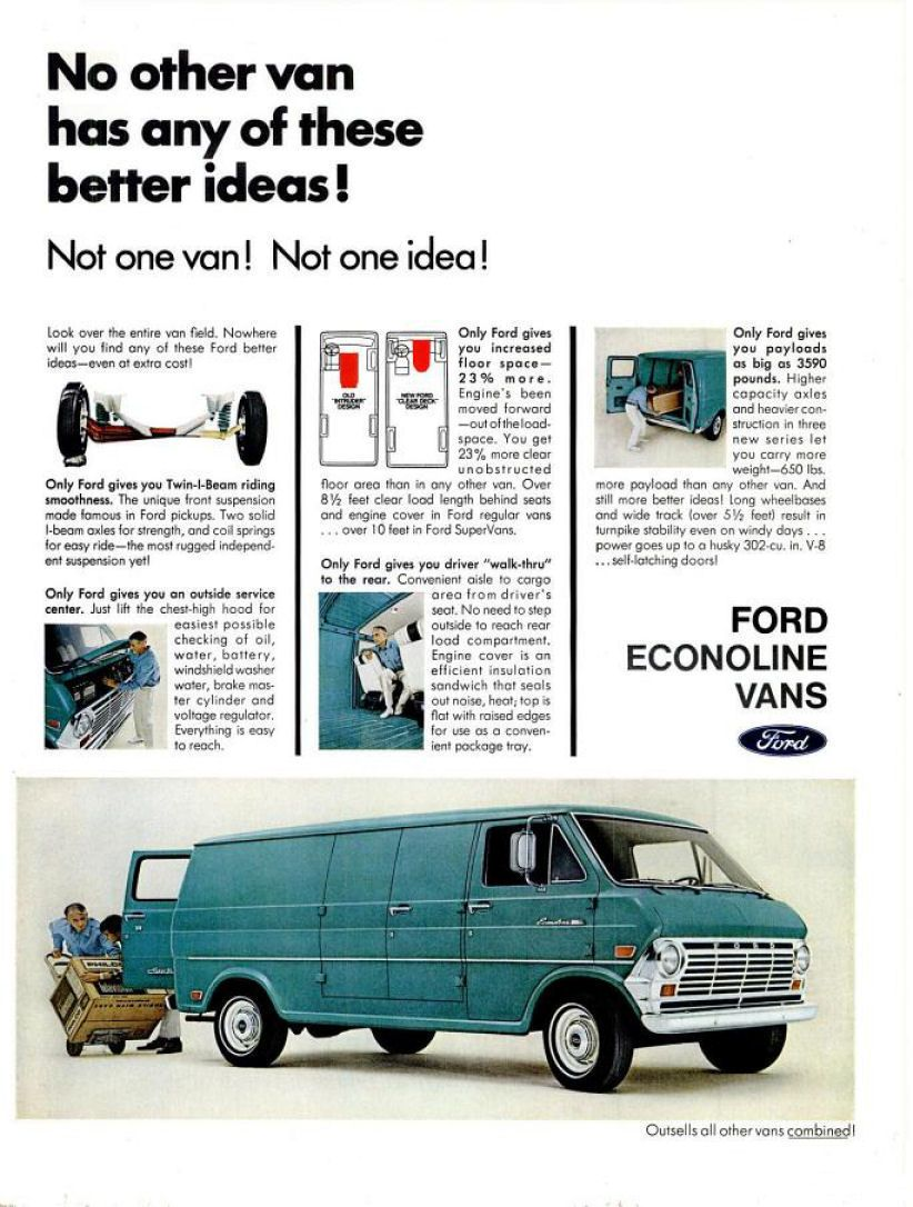 1969 Ford Van Ad 02 Ford Trucks Ford Van Classic Cars Trucks