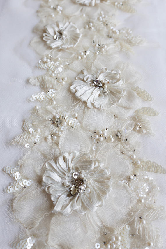 Hand Made Trim With Silk Organza Flowers Ribbons And Pearls