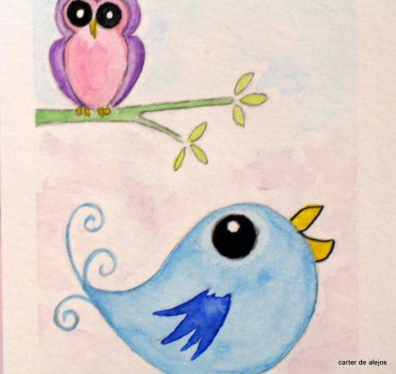 OWL AND BLUE BIRD original ACEO watercolor FREE SHIPPING
