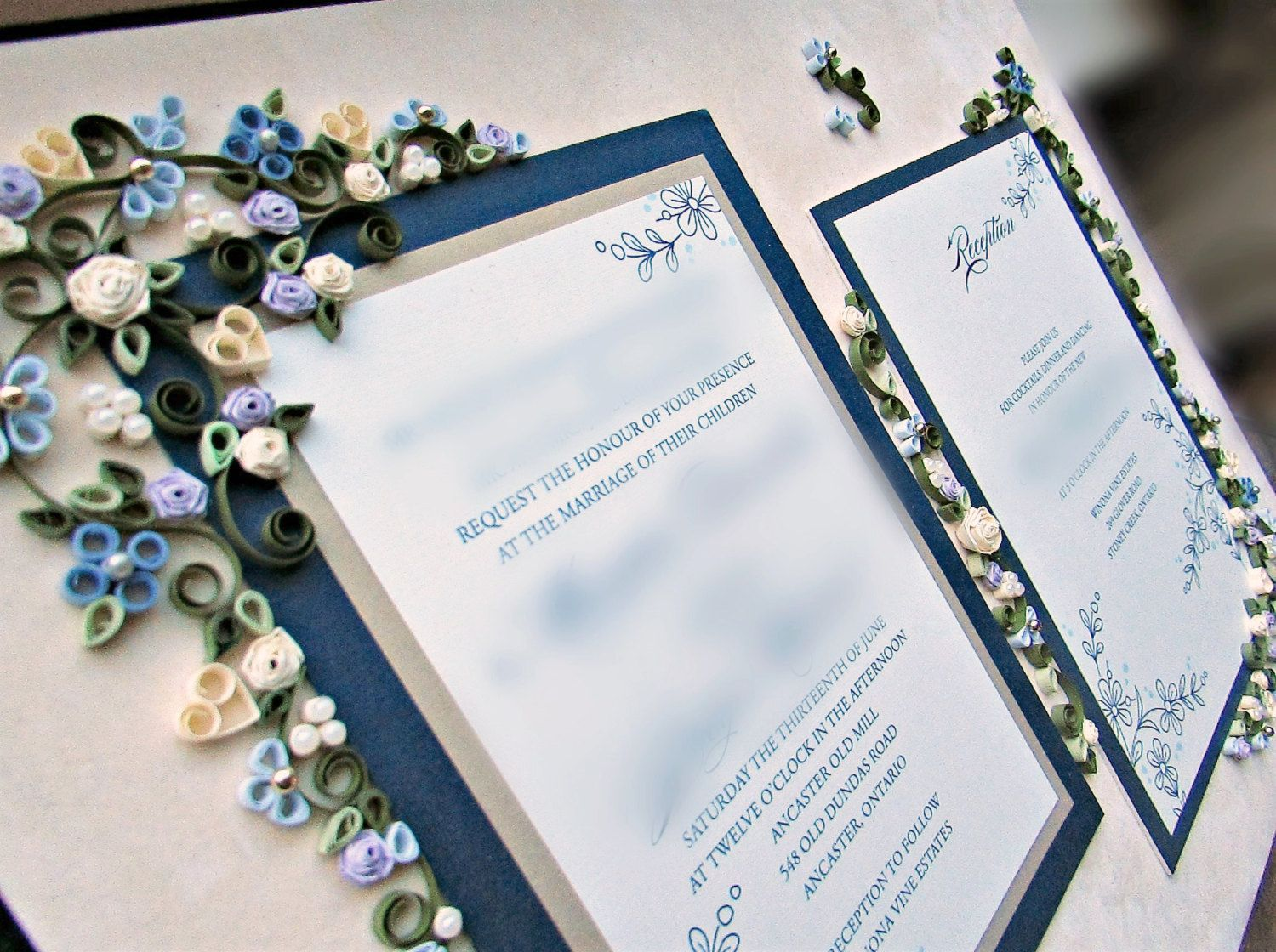 Custom Wedding Gift / Couple\'s Gift / Quilled Wedding Invitation ...