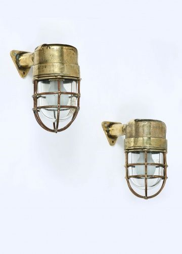 Set of Six 'Maritime' Brass Wall Lights