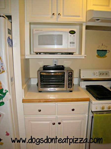 Finish It Friday The Finished Kitchen Microwave Shelf Microwave In Kitchen Microwave Cabinet