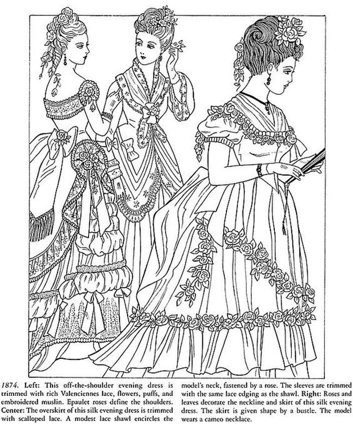 Printable hard adult coloring pages of Victorian women Fashion