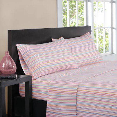 Home Essence Apartment Multi Stripe Sheet Set - Walmart.com ...