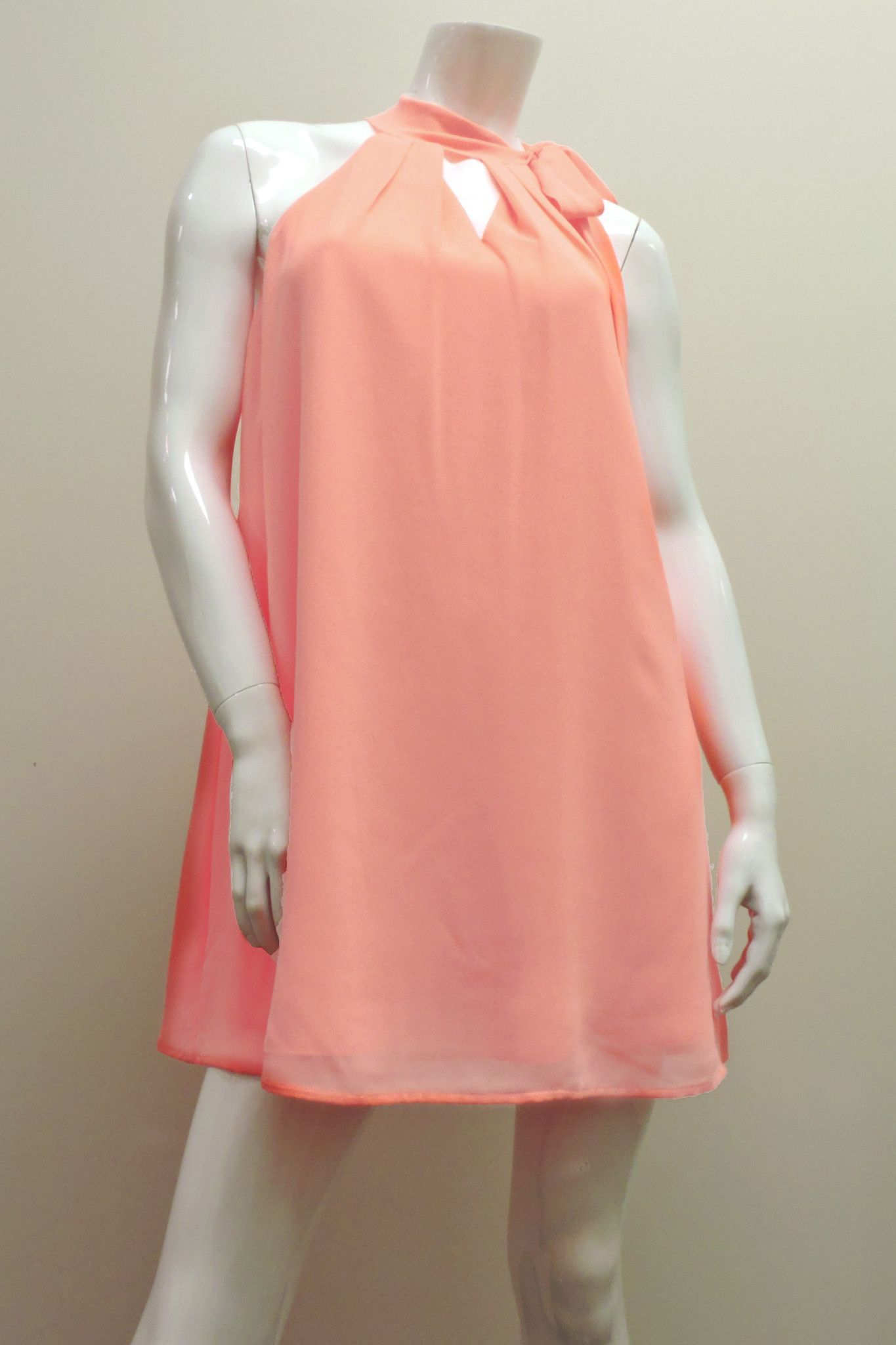 Coral Bow Tie Neck Dress | Products | Pinterest
