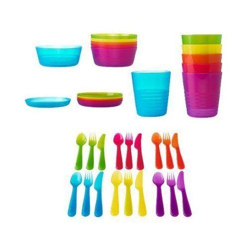 Ikea 36 Pcs Kalas Kids Plastic Bpa Free Flatware Bowl Plate Tumbler Set Colorful Http Www Amazon Com Dp B009pp5l Ikea Dinnerware Kids Flatware Ikea Kids