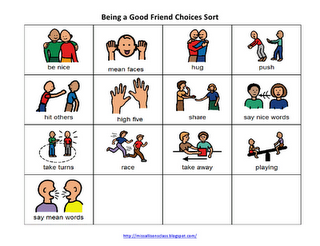 Miss Allison's Class: Being a Good Friend social story and behavior sort. Great sped blog!