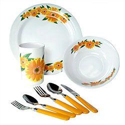 Casual Dinnerware For Less. Sunflower Themed KitchenDish SetsMelamine ...  sc 1 st  Pinterest & Sunflower Dinnerware | Alpine Cuisine \u0027Yellow Sunflower\u0027 32-piece ...