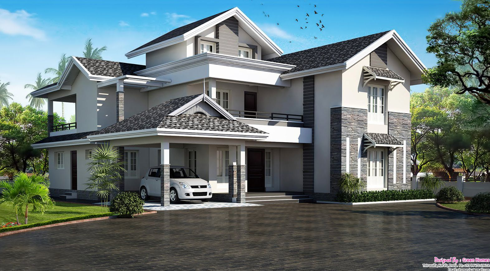 5bhk modern sloping roof kerala villa design