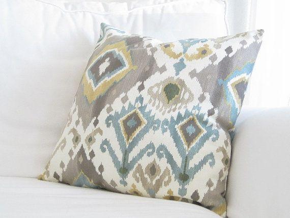 Throw Pillows Decorative Pillows Ikat Couch Pillows Grey Teal Enchanting Teal And Grey Decorative Pillows
