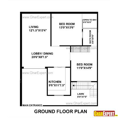 House Plan For 33 Feet By 40 Feet Plot Plot Size 147 Square Yards 30x40 House Plans Architectural House Plans House Layout Plans