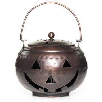 Greet your trick-or-treaters with the glow from our smiling metal Jack-O-Lanterns: Halloween Pumpkin Accessories (Online & Catalog Exclusive) Votive Candle Holder.