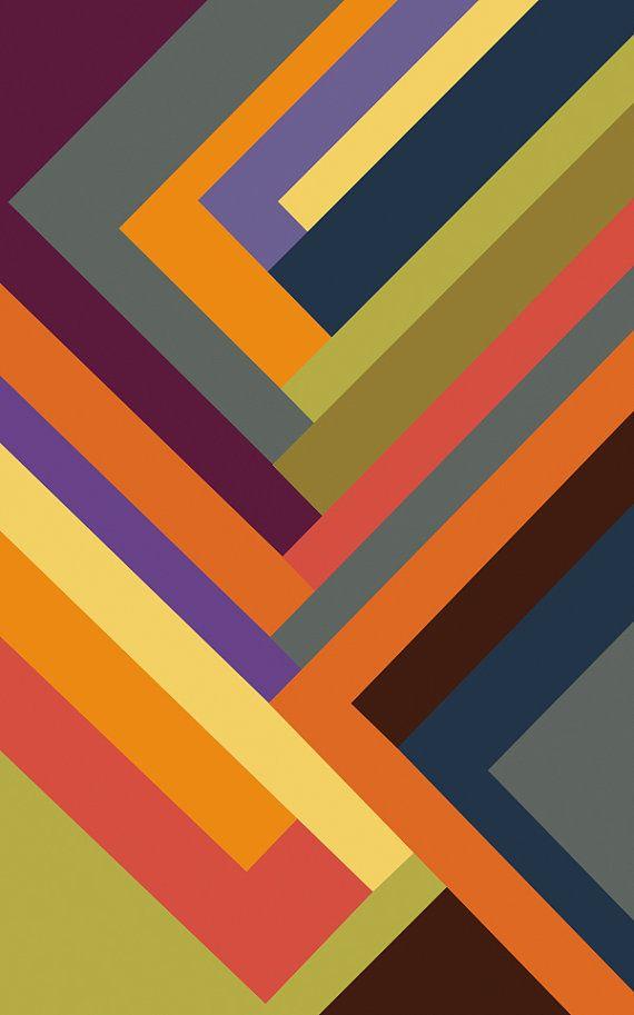Canvas geometric artwork mulit color stripe pattern large