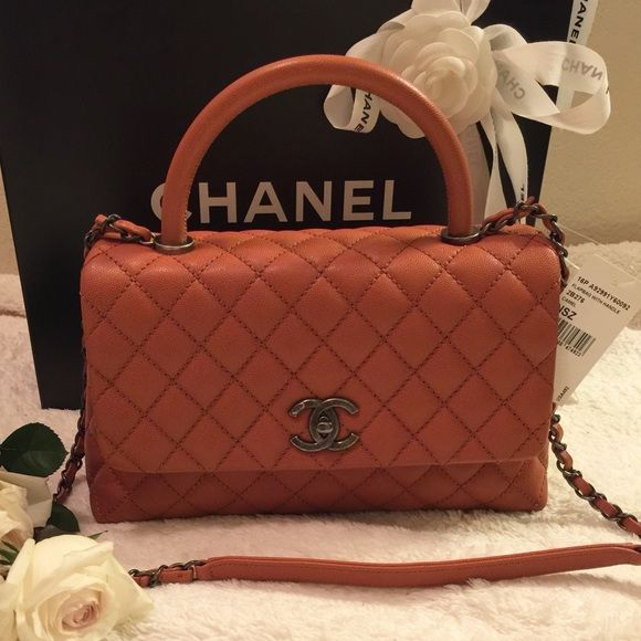 bac624ff50dd10 CHANEL COCO HANDLE ORANGE CAMEL Showcase my favorite items from my personal  collection. NOT FOR SALE [RARE] Orange in size Medium CHANEL Bags Shoulder  Bags