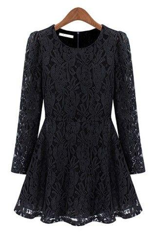 A-line Crocheted Lace Dress - OASAP.com